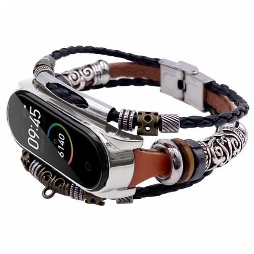 TAMISTER Retro Ethnic Style Braided DIY Replacement Wristband for Xiaomi Mi Band 3 / 4