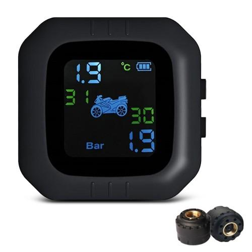 Tire Pressure Monitoring System Motorcycle TPMS Real-time Tester LCD Screenwith 2 External Sensors
