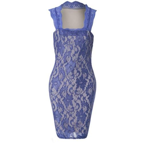 Slimming Solid Color Embroidered Sleeveless Women's Dress