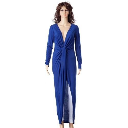 Sexy Long Sleeve Plunging Neck Solid Color Asymmetrical Hem Women's Dress