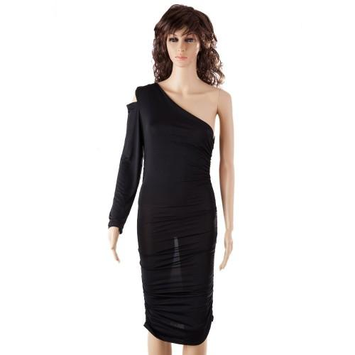 Sexy One Shoulder Cocktail Long Sleeve Black Dress