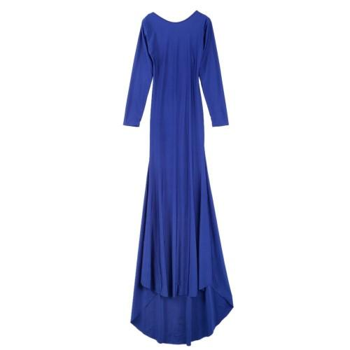 Round Collar Solid Color Backless Long Sleeve Women's Maxi Dress