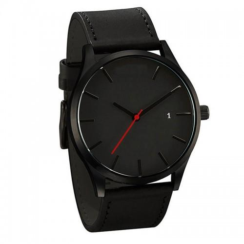 Male Business Casual Quartz Wrist Watch with Leather Watch Strap Gifts